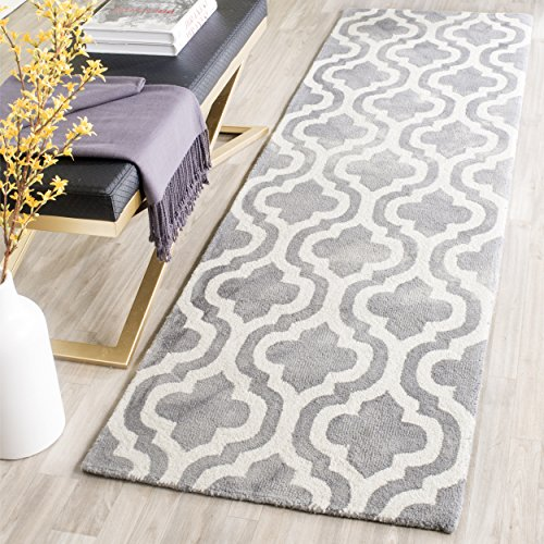 Safavieh Dip Dye Collection DDY537C Handmade Geometric Moroccan Watercolor Grey and Ivory Wool Runner (2'3