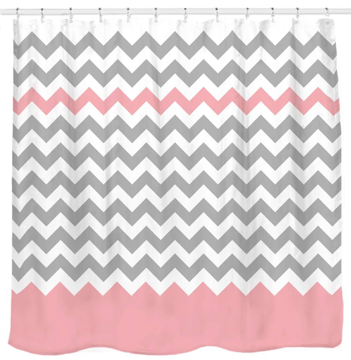 Sunlit Zigzag Pink And Grey White Chevron Shower Curtain Geometric Print Zig Zag Pattern Lines Contemporary Stripes Modern Design Fabric Bathroom Decor
