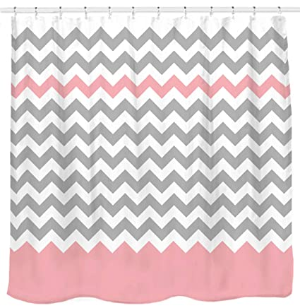 Sunlit Zigzag Pink And Grey White Chevron Shower Curtain Geometric Print Zig Zag Pattern Lines