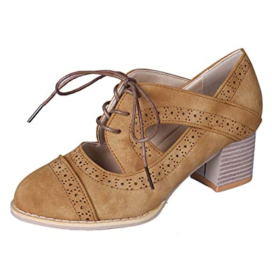 Amazon.com: TnaIorlral Women Sandals Suqare Heels Lace-Up Short Boot Solid Color Hollow Single Shoes: Clothing