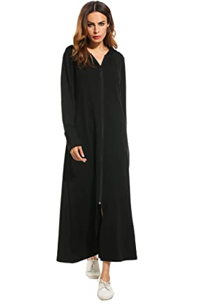 ef7d97dacb Meaneor Women s Long Robes Plus Size Hoodie Bathrobe with Zipper at ...