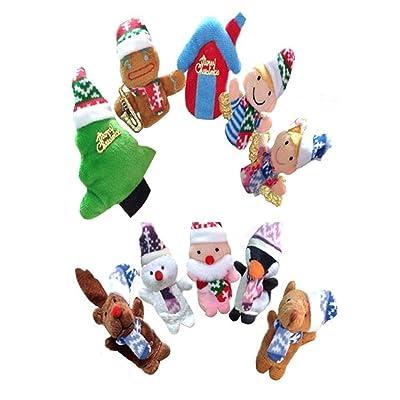 Marioneta de Mano Christmas Finger Puppets Personajes de Navidad Art Finger Toys Story Teller Gift for bebés y niños - 10 Piezas: Juguetes y juegos
