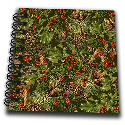 3dRose Andrea Haase Holiday Illustration - Allover Vintage Christmas Pattern with Holly Leave and Fir Cones - Mini Notepad 4 x 4 inch ()
