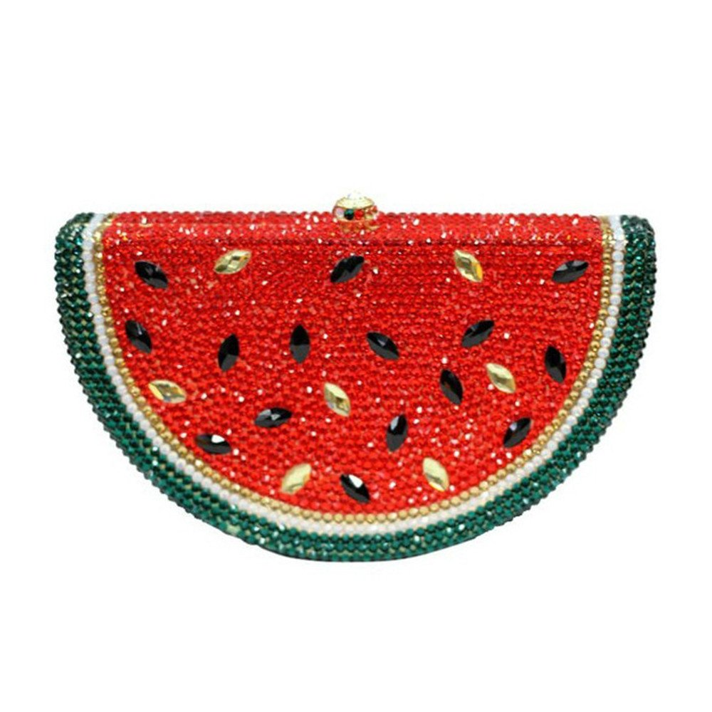 Watermelon Women Clutch Bag With Rinestones Crystals Evening Purses With Removale Chain For Wedding,Party,Evening
