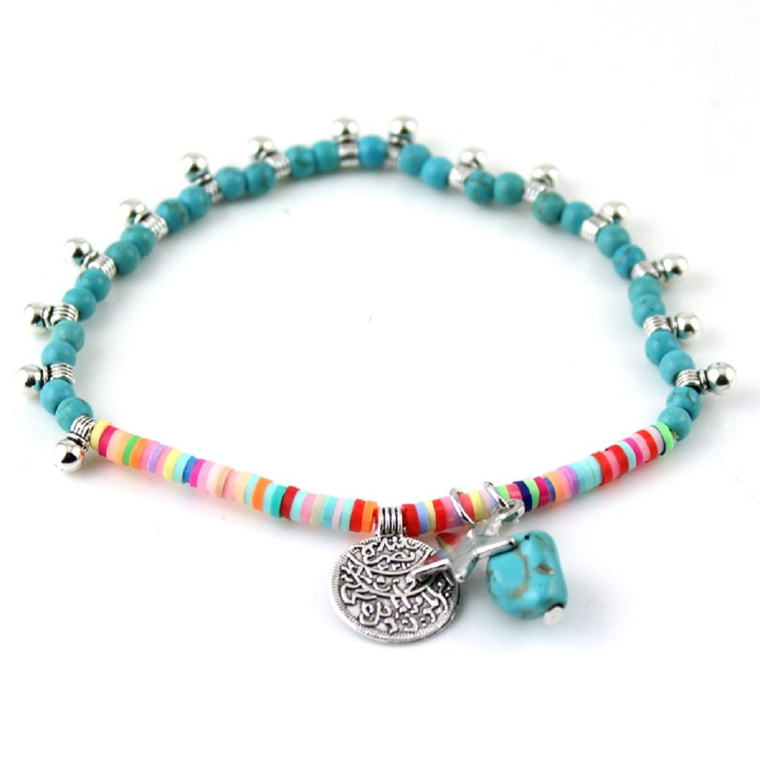 JAASA 2 Piece Sale Jewelry Foot Jewelry Tourism Summer Beach Barefoot Sandals Bracelet Ankle on The Leg Tibet Silver Coin