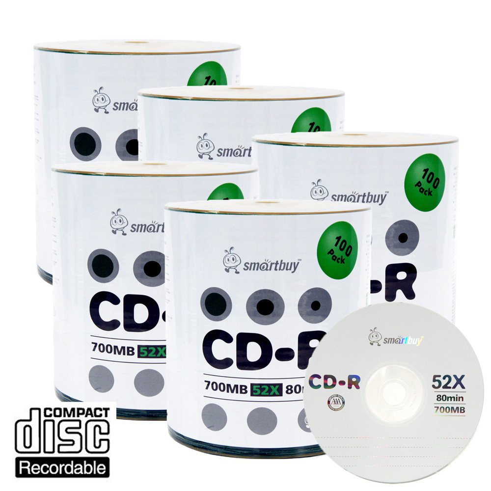 Smart Buy Logo CD-R 500 Pack 700mb 52x Blank Data Recordable Discs, 500 Disc, 500pk by Smart Buy