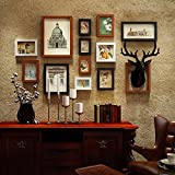 WUXK The deer head 壁 photo wall frame Wall Clocks American antique photos living room decorated in a creative combination of wall painting box,