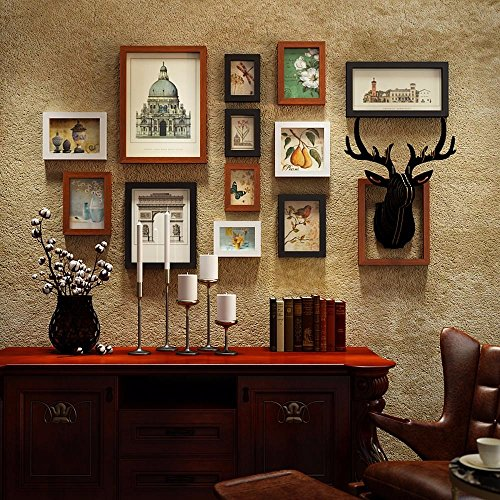 WUXK The deer head 壁 photo wall frame Wall Clocks American antique photos living room decorated in a creative combination of wall painting box, by WUXK