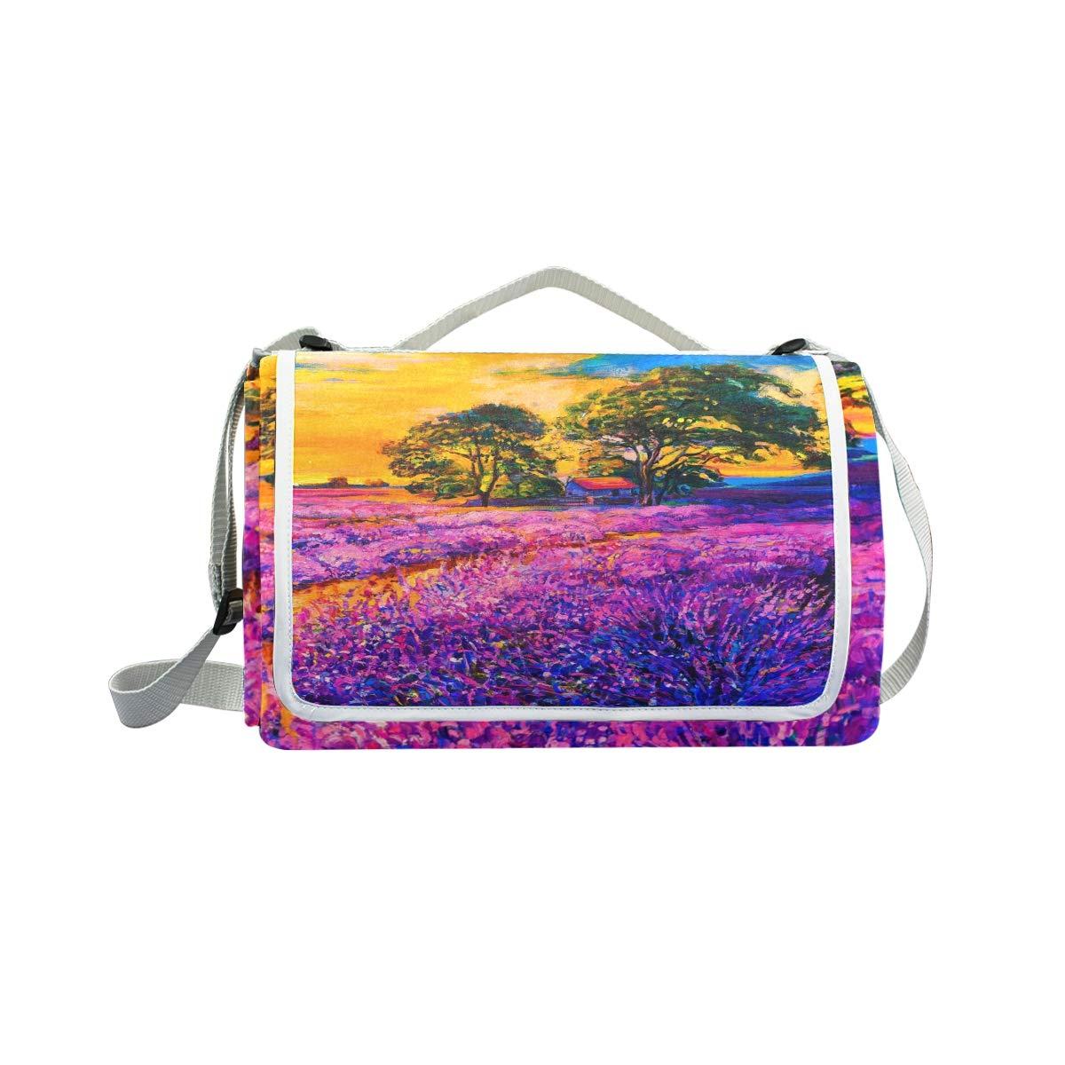 Jeansame Vintage Sunset Floreale Pittura a Olio di Lavanda Picnic Mat Coperta da Picnic, da Campeggio per Outdoor Viaggio Yoga Escursionismo Impermeabile Portatile Pieghevole 150 x 145 cm