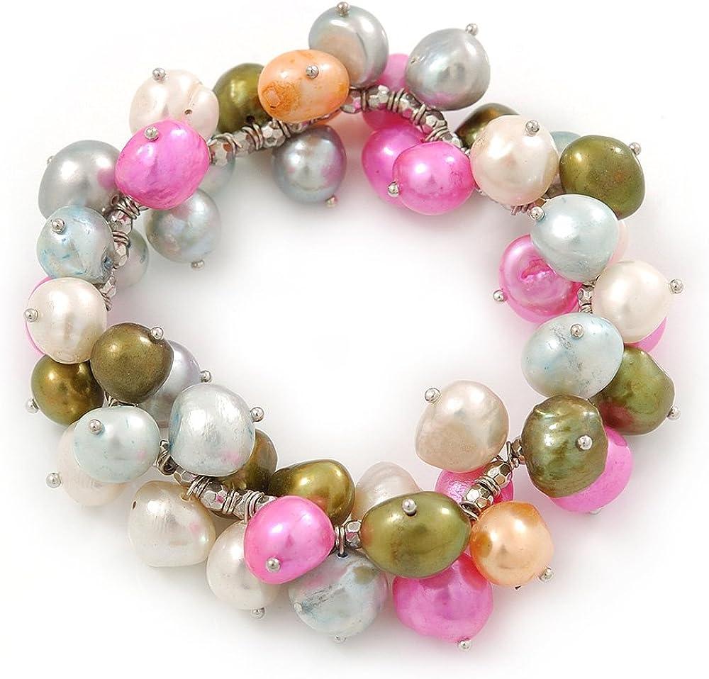 10 mm de la perla de agua dulce Multicolor racimo de Pulsera del estiramiento - 20 cm L