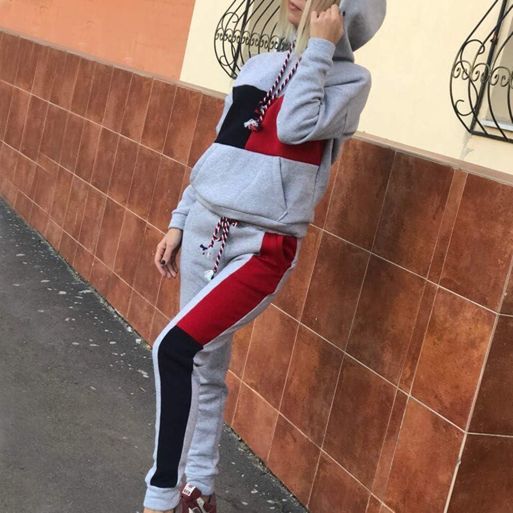 Vertvie Damen 2 Teilig Sportanzug Traingsanzug Patchwork Lange /Ärmel Jogginganzug Freizeitanzug Sportswear mit Langhosen Sport Yoga Outfit