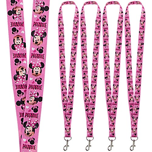 Disney (4 Pack) Character Lanyard Keychains With Lobster Clasps For Kids ID Christmas Holiday Gift ()