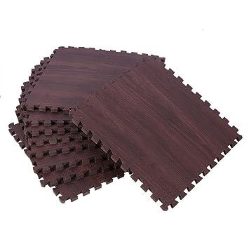 Eva Wood Grain Cushioned Floor Mat Interlocking Foam Puzzle, 18 Pcs ...
