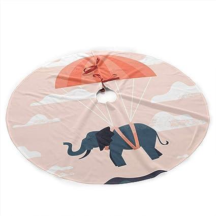 869499f319 WatercressJam Christmas Tree Skirt 35.5 Inches Xmas Polyester Plush Cloth  Tree Skirts Parachute Flying Elephant Printed