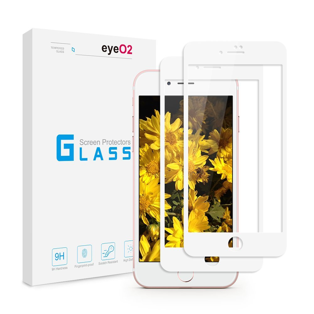 EyeO2 Glass Screen Protector for iPhone 7 Protective Screen Accessories [4.7 Inch] [Full Coverage] HD Tempered Glass Screen Protector High Response Case Friendly for iPhone 7 Film (White 2 Pack)