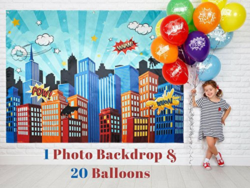 Superhero Party Supplies Pinata Props Backdrop - DC Super Hero Girls And Boys Birthday Decorations Favors - 6.2 X 4.8 Ft Cityscape Photography Party City - Bonus 20 Assorted Colors Balloons -