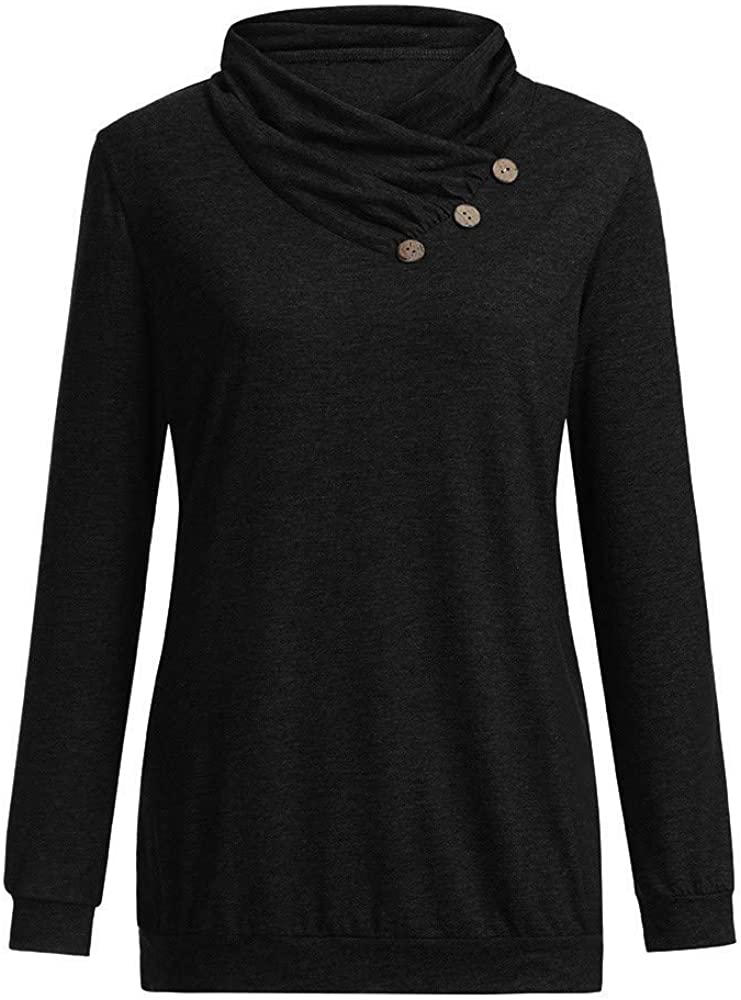 BCDshop Women Casual Tunic Sweatshirt Button Detail Cowl Neck Long Sleeve Ladies Tops Blouse
