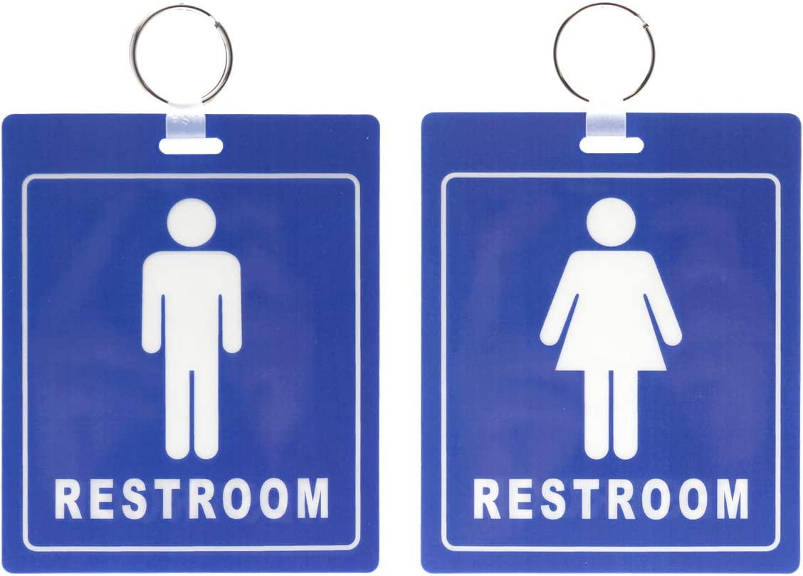 2 Pack - Restroom Pass Keychains (1 Men / 1 Women) Flexible/Heavy Duty Bathroom Tag with Key Chain Ring - Large Passes for Men's & Women's Bathrooms w Key Holder - Office, School by Specialist ID