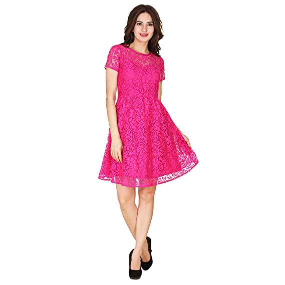 Buy Fabrify Women S Pink Net Fashion Sleeve Self Design A Line Dress Drs1133 Pink Xl At Amazon In