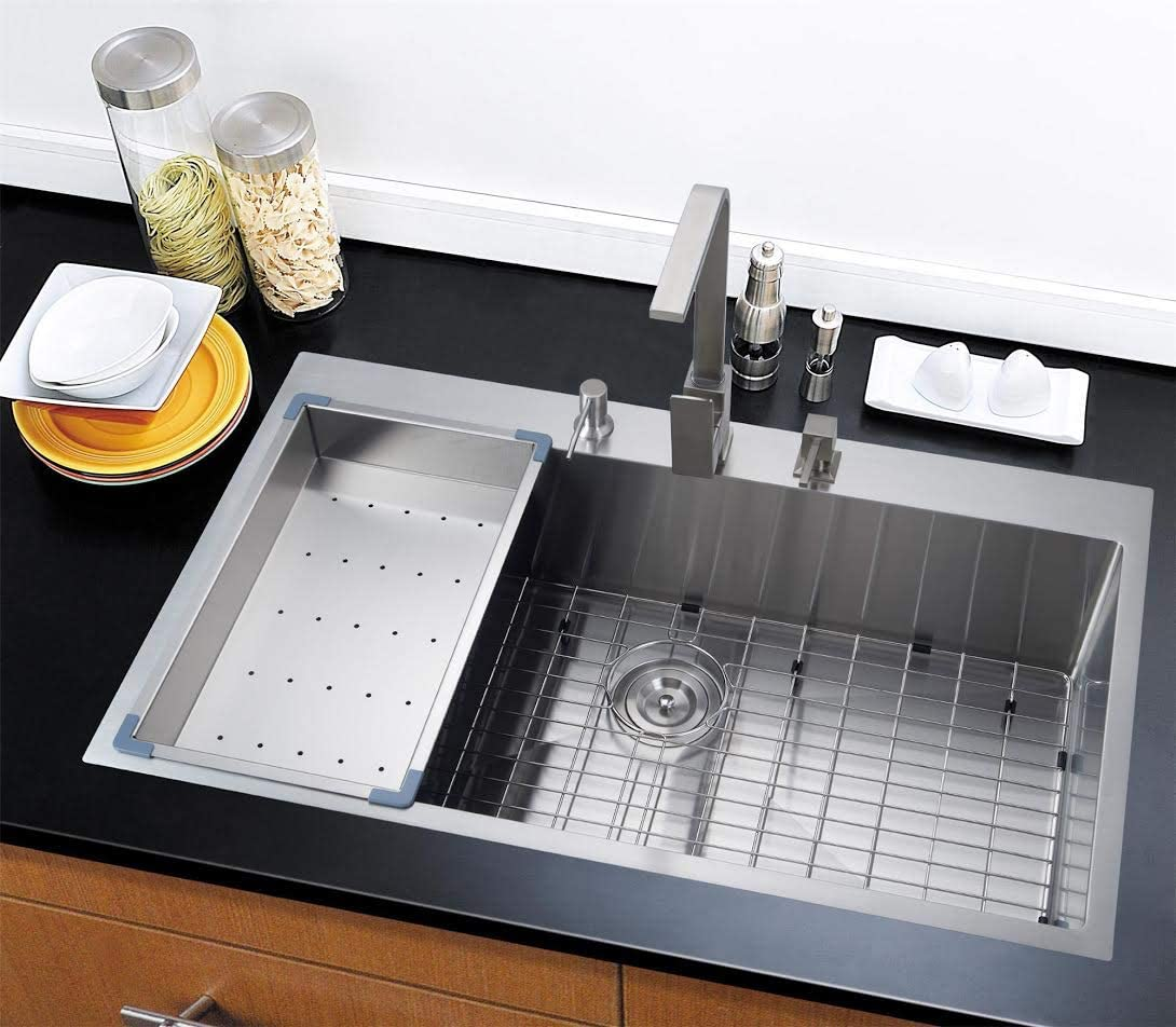 "Starstar 36"" Topmount / Drop In Stainless Steel Single Bowl Kitchen Sink 16 Gauge with Accessories"