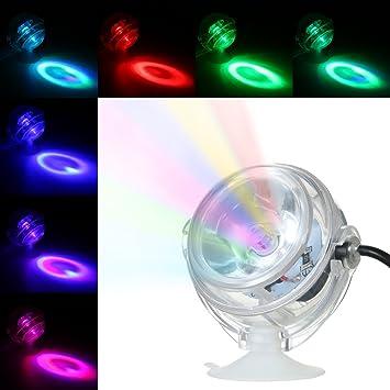 Decdeal LED Acuario Impermeable Luz Sumergible,Diseño de Lentes Convexos Spotlight,Luz Decorativa del Tanque de Peces: Amazon.es: Hogar