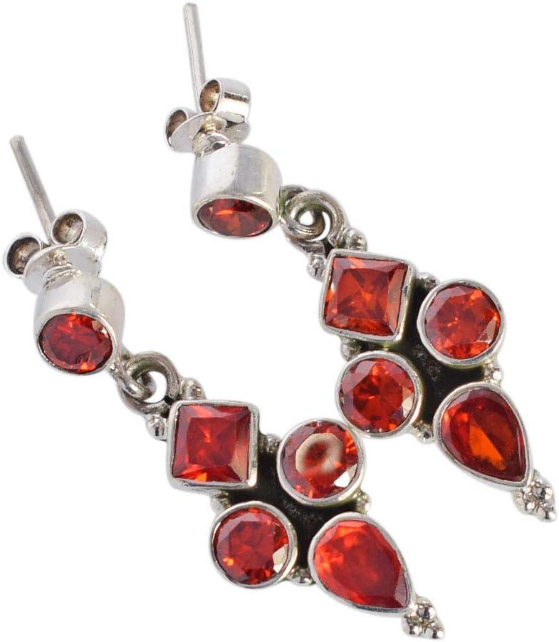 Hermoso pendiente de cuarzo rojo para mujer, hecho a mano, joyería de plata de ley 925 maciza, regalos para esposa FSJ-3632