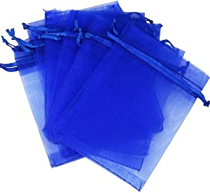 Outdoorfly 50PCS Drawstring Organza Bags 5x7 Inches Blue Transparent Jewelry Favor Pouches Baby Shower Party Wedding Gift Bags Chocolate Candy Bags(50PCS Blue)