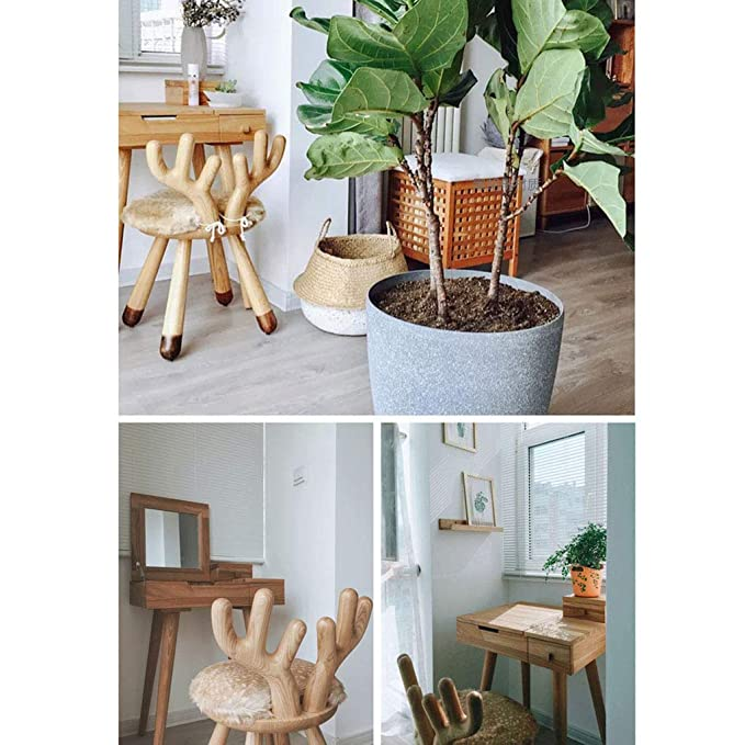 Amazon.com: Taburetes de madera maciza de tres patas banco ...