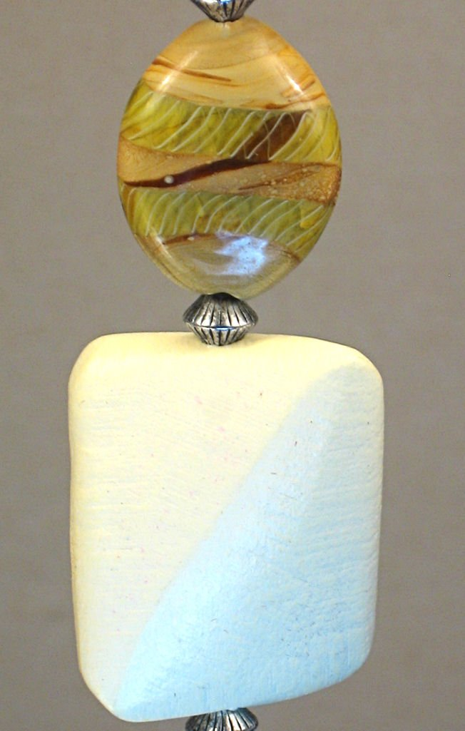 Blonde Wood and Neutral Tan & Olive Green Artisan Glass Ceiling Fan Pull Chain
