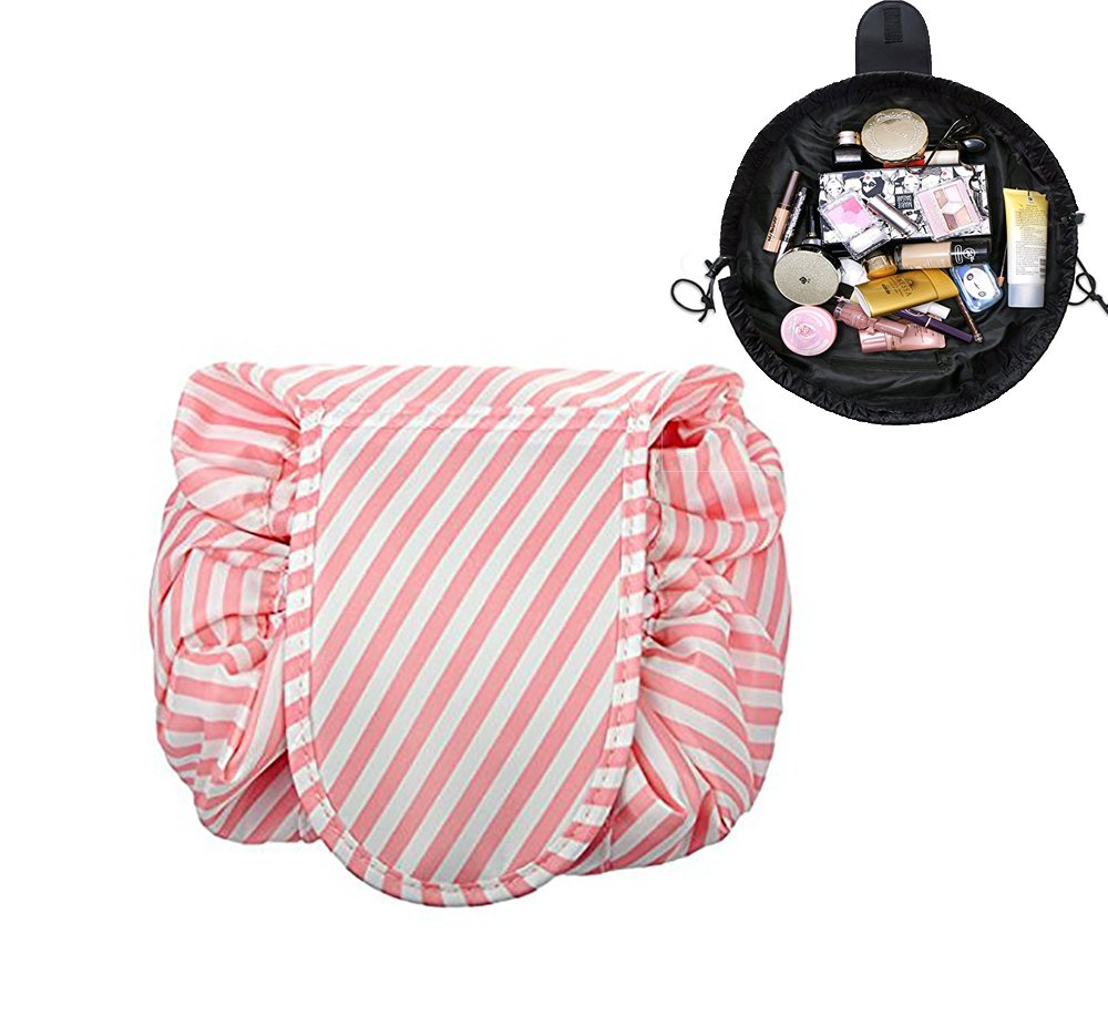 97aa1a14afe0 Amazon.com : Lemoncy Lazy Portable Makeup Bag Waterproof Drawstring ...