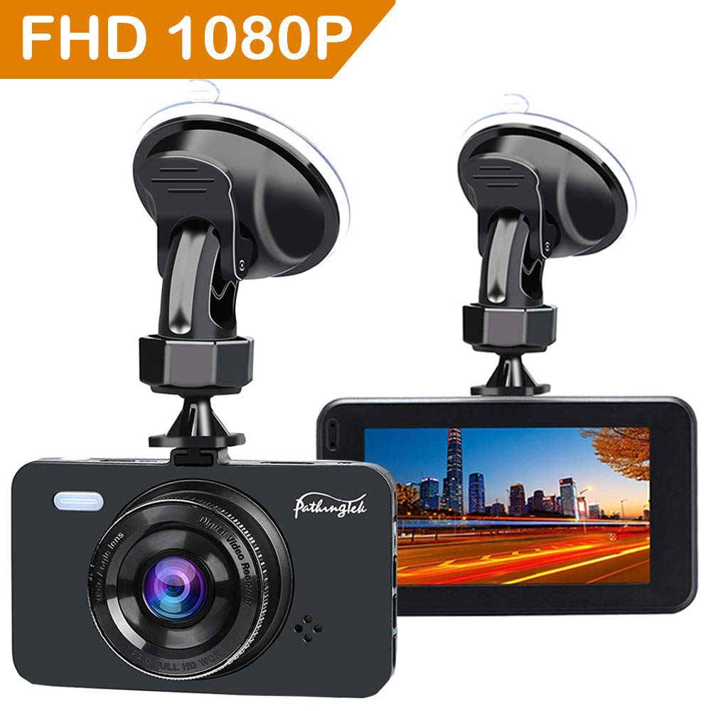 Pathinglek Dash Cam 1080P Full HD Car Camera DVR Dashboard Camera 3' IPS Screen 170° Wide Angle, WDR, G-Sensor, Loop Recording Motion Detection Excellent Video Images (New Version)