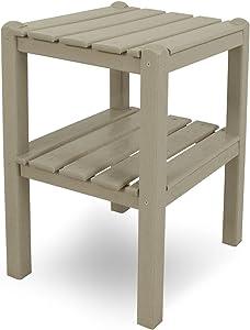 POLYWOOD TWSTSA Two Shelf Side Table, Sand