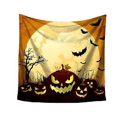 ZHRUI Impresión de Halloween Plaza Tapiz Decorativo Playa Tirar Toalla Redonda Yoga Mat (Color :