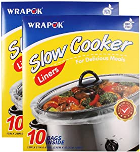 WRAPOK Slow Cooker Liners Kitchen Disposable Cooking Bags BPA Free for Oval or Round Pot, Large Size 13 x 21 Inch, Fits 3 to 8.5 Quarts - 2 Pack (20 Bags Total)