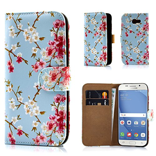 Samsung A517 Protector Case Cover (32nd Floral Design Leather Wallet Case for Samsung Galaxy A5 (2017), Designer Flower Pattern Wallet Style Case Cover With Card Slots - Spring Blue)