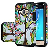 Samsung Galaxy Express 3, Galaxy Amp 2 Luna Case 2016 Dual Layer Shock Proof Protection Rubber Matte Hybrid Slim Hard Case Cover XYZ (Colorful Tree Hybrid)