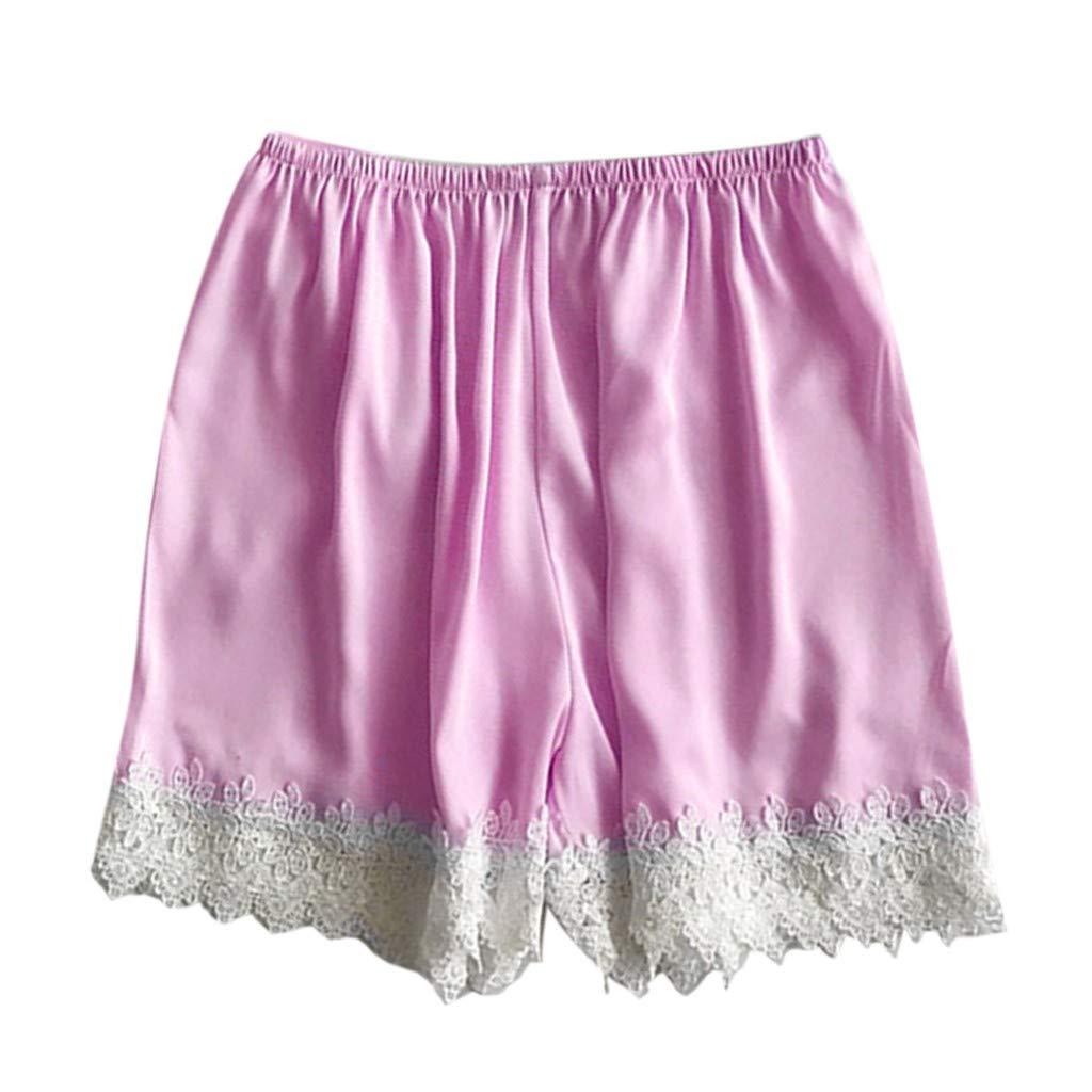 Women's Plus Size Sexy Lingerie Pants Lace Stain Temptation Night Underwear Babydoll Comfortable Sleepwear Pants (Hot Pink, L)