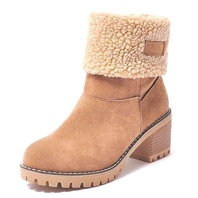 0905c40818f276 Fond épais imperméable à l'Eau de la Cheville Bottes Fourrure Chaude Hiver  Chaussures Plate