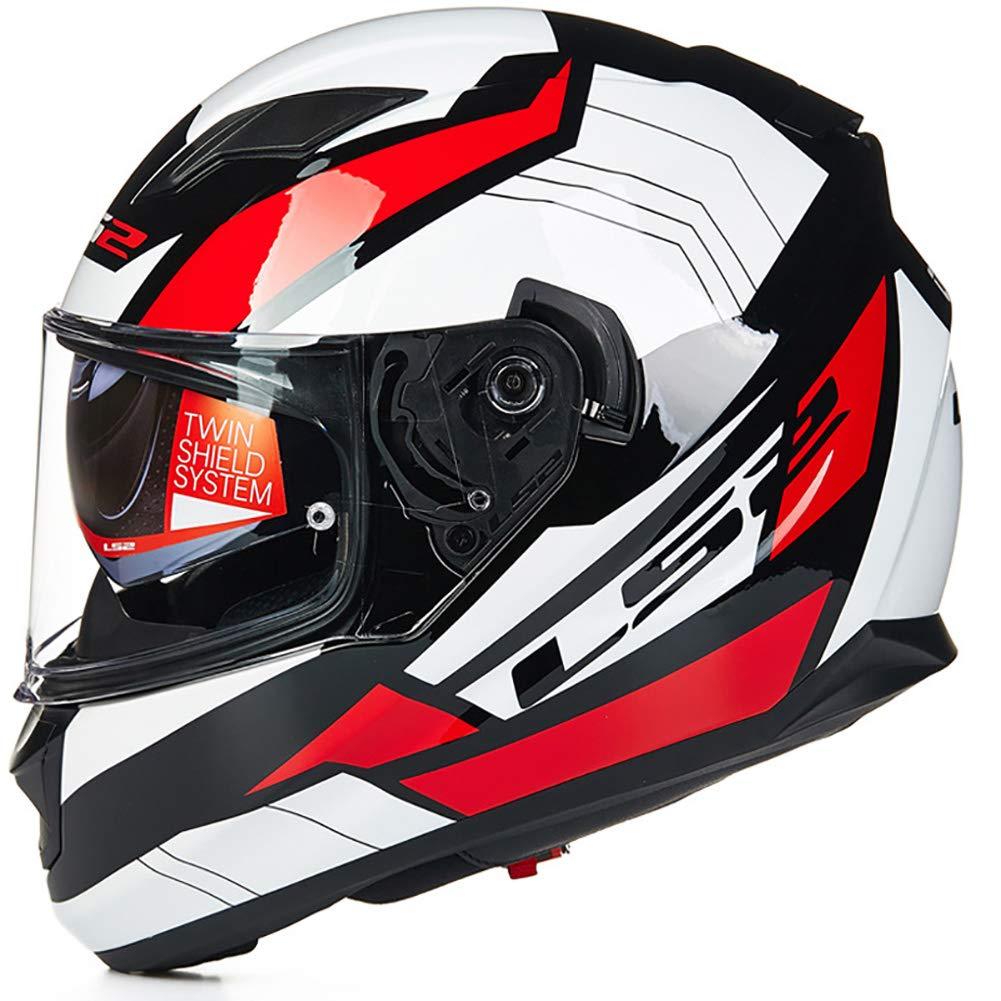Outdoor Riding Helmet Street Bike Racing Collision Helmet Double Lens Motorcycle Helmet Locomotive Racing Full Helmet with Airbag Sunglasses,004,XXL