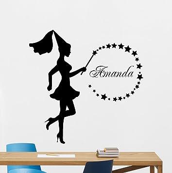 Amazon.com: KOTWDQ Personalized Fairy Wall Decal Magic Wand Custom on lacrosse stick holder decor, lacrosse personalized wall decal, lacrosse boy bedroom,