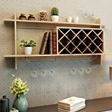 Wine Rack Organizer With Glass Holder & Storage Shelf Home Decor Wall Mount