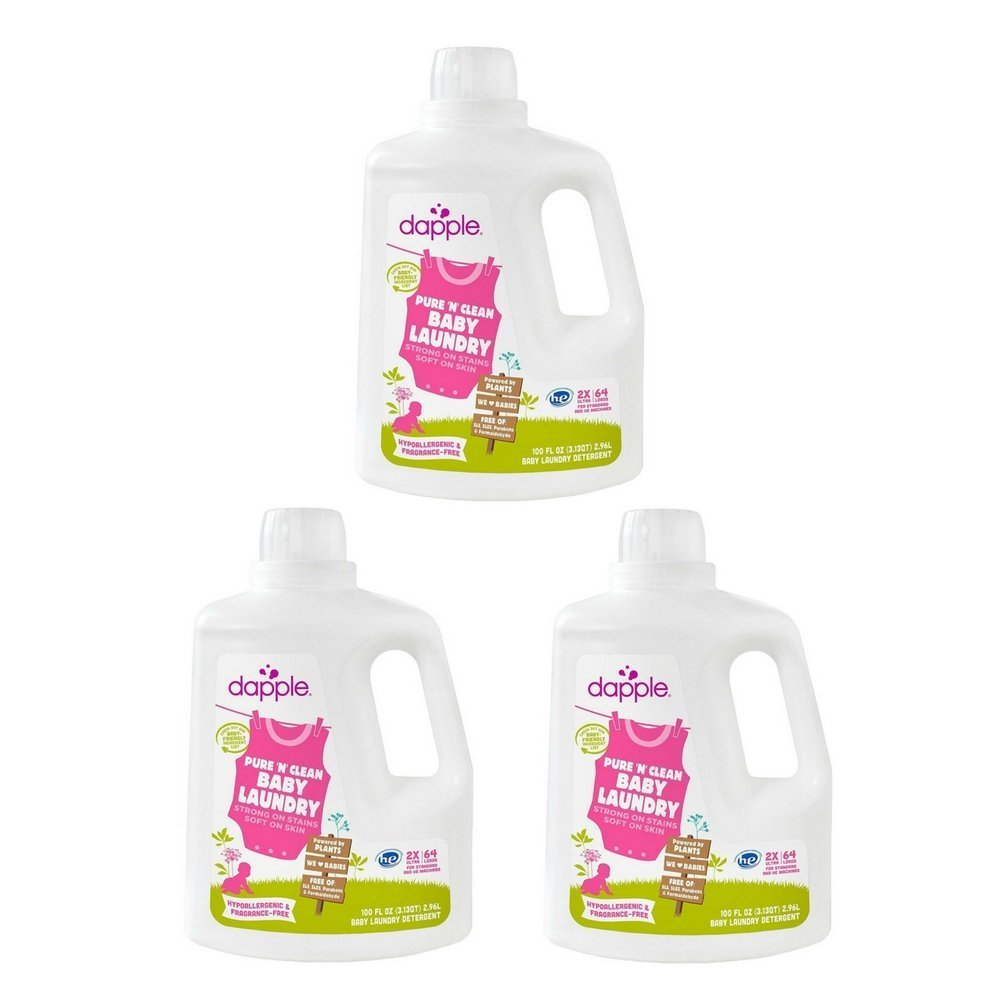 Dapple Baby Laundry Detergent, Fragrance Free, 100 Ounce (3 Pack)