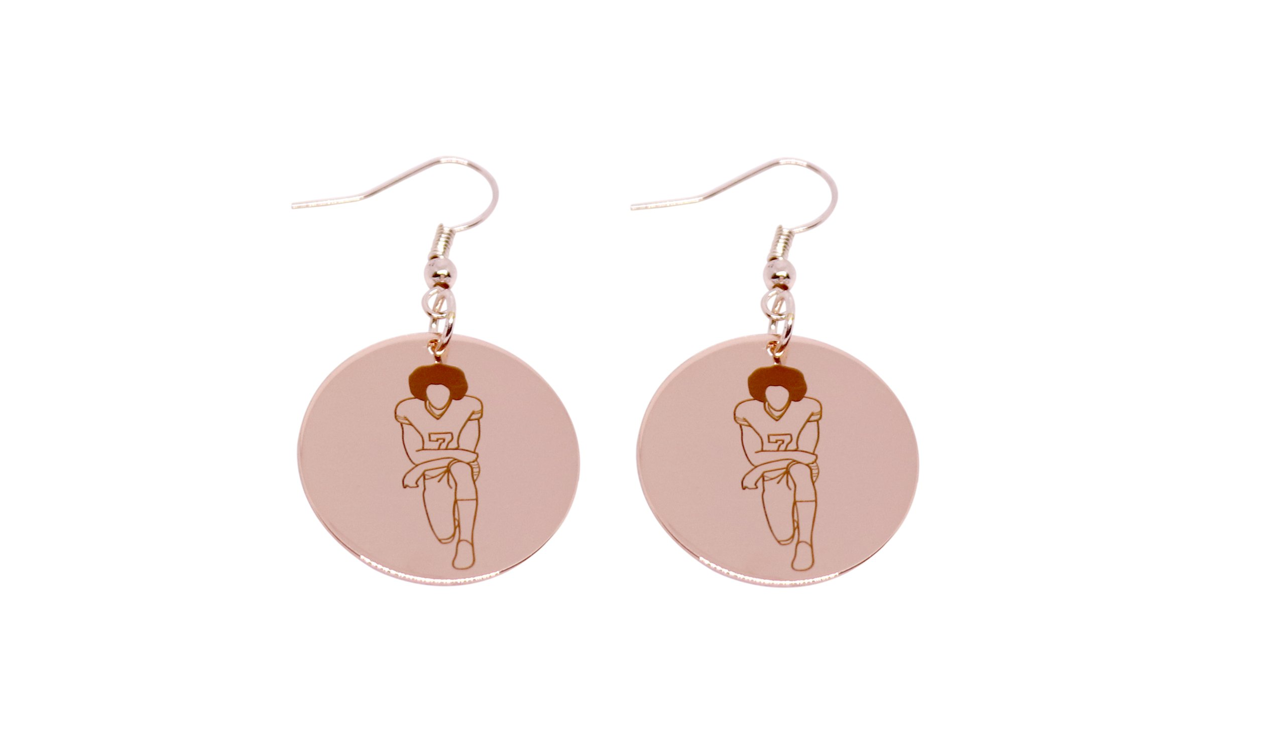 Colin Kaepernick Earrings Stainless Steel Supports the Advancement Project NFL Protest (Rose Gold Dipped, Stainless Steel)
