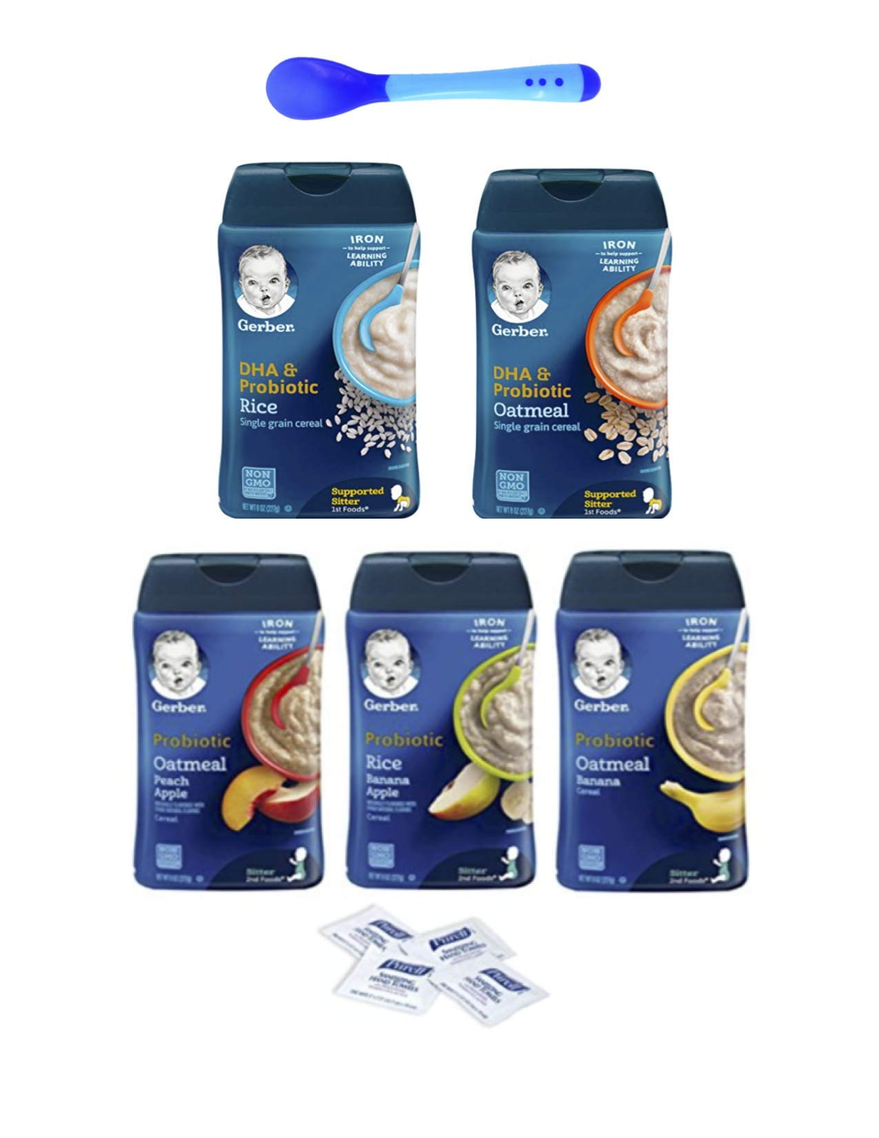 Gerber Baby Cereal Probiotic Super Pack, Oatmeal & Banana, Rice Banana Apple, Oatmeal Peach Apple, DHA Oatmeal, and DHA Rice Baby Cereal Canisters, 8oz. with bonus of 4 Purell Hand Sanitizing Wipes by Gerber