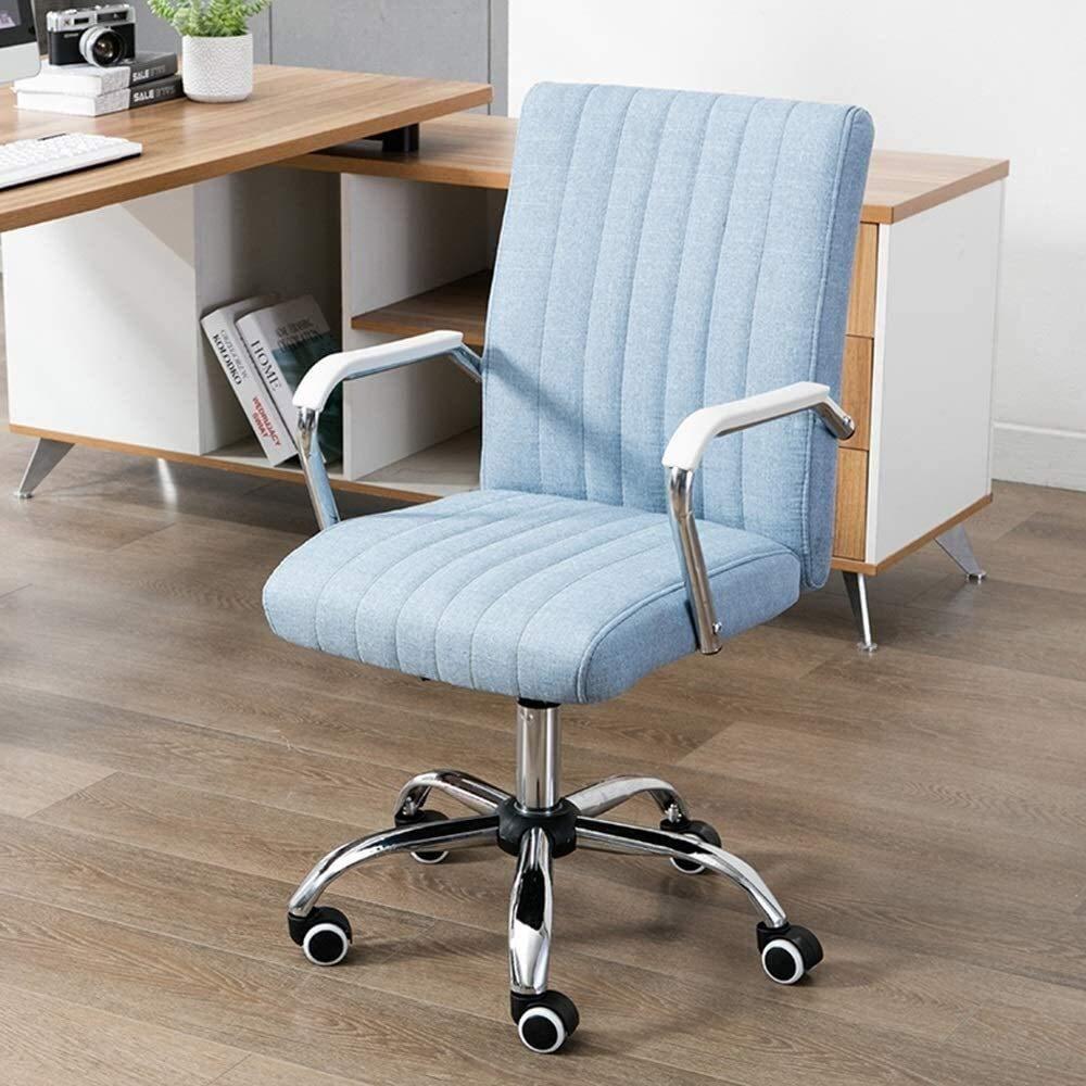 Fåtöljar GSN hög rygg stor storlek tyg spelstol justerbar höjd verkställande och ergonomisk svängbar stol för arbetsrum sovrum bärande kapacitet: 150 kg (färg: blå) BLÅ