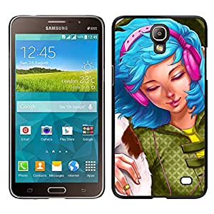 Stuss Case / Funda Carcasa protectora - Blue Hair Woman Headphones Grunge Drawing - Samsung Galaxy Mega 2