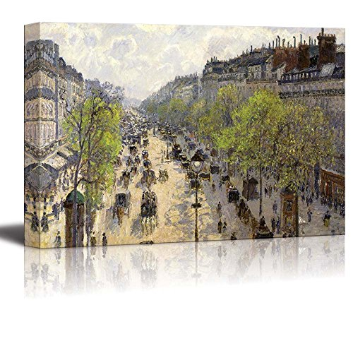 Boulevard Montmartre,Spring by Camille Pissarro - Canvas Print Wall Art Famous Painting Reproduction - 24