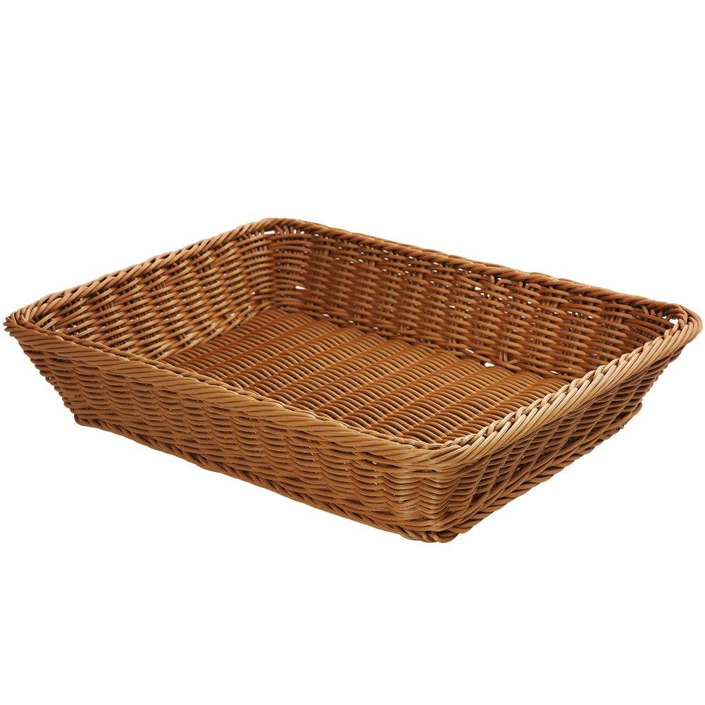YOLOGOSUN Wicker Bread Basket-Woven Tabletop Food Fruit Vegetables Serving Basket, Restaurant Serving,Brown