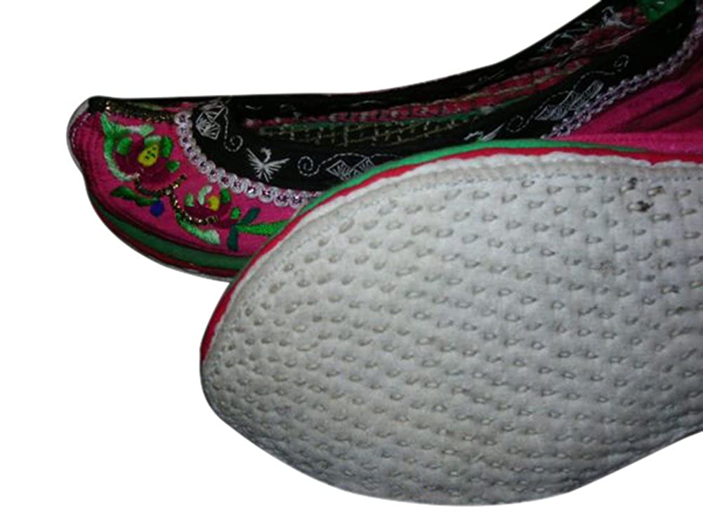 Interact China Handmade Flat Women Shoes Embroidered Chinese Oriental Chic # 103 Size US 6 Black
