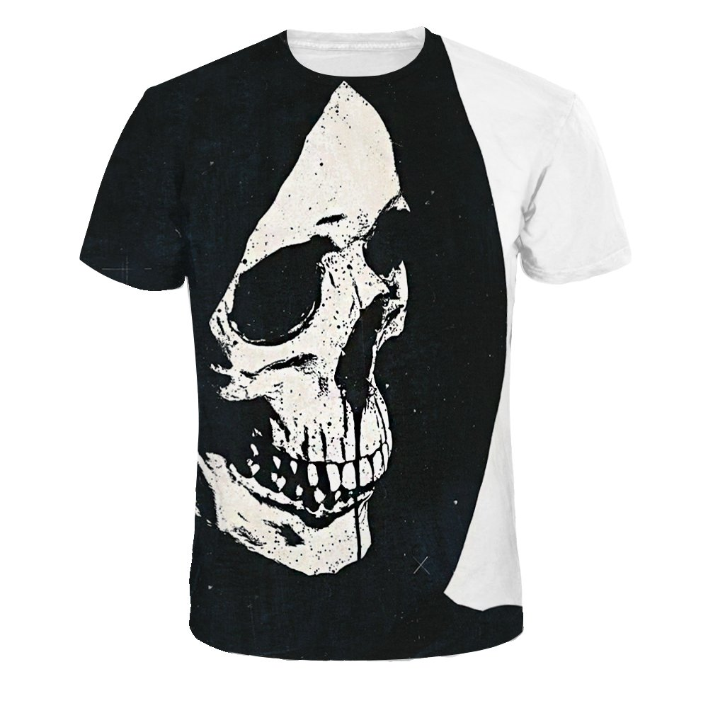 BLACKTOMATO Round Neck Short Sleeve Blouses 3D Digital Print Tops Casual T-Shirt (Skull, S)